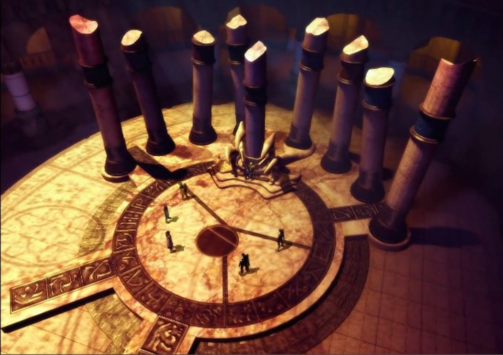 Screenshot of Introduction FMV from Legacy of Kain: Soul Reaver showing the Sanctuary of the Clans Throne Room