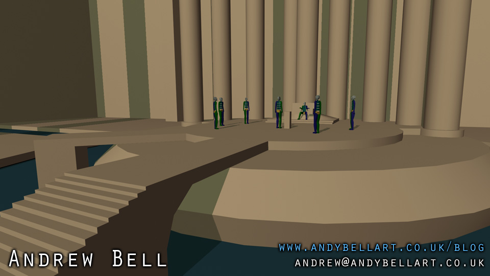 3ds Max screenshot of the blockout of my scene.