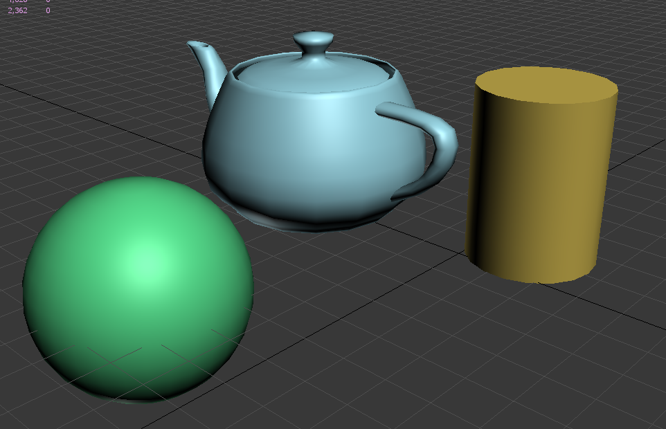 1. Group of newly created 3ds Max primitives.